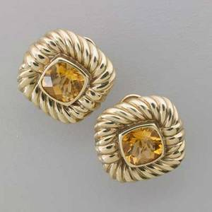 David yurman 14k yellow gold citrine earrings square faceted citrines bezel set with signature cable motif surround post backs for pierced ears marked 14k david yurman 1 x 1 149 dwt