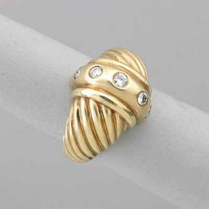David yurman yellow gold diamond cable ring 18k and 14k gold central band with five round brilliant cut diamonds approx 30 ct tw signature cable motif at shoulders marked 14k 18k david yurma