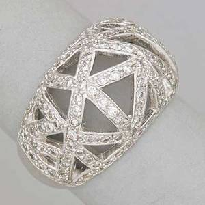 Diamond 14k white gold bombe trllis ring tapered geometric open design bead set with 127 full brilliant cut diamonds approx 127 cts tw marked 14k size 8 59 dwt