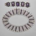 Mexican silver and amethyst necklace and bracelet supple collar necklace and link bracelet with amethyst cabochons and half beads necklace 1 12 x 15 556 ot