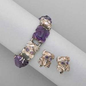 William spratling amethyst sterling frog jewelry flexible bracelet of carved amethyst frog links and silver frog links with amethyst eyes 7 x 916 similar silver frog screw back earrings taxco