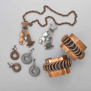 Frank rebaje modernist copper or coil jewelry eight pieces two copper open cuffs with applied coil 2 two african queen pendants cast and constructed each with companion coil earrings in copper o
