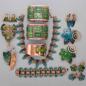 Enameled copper jewelry matisserenoir seventeen pieces in shades of green teal and gold enamel two green tapestry cuff bracelets 1 34 wide teal fringe necklace 13 34 bracelet 6 12 and