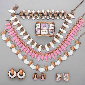 Enameled copper jewelry matisserenoir eleven pieces in white pink and lavender enamel pink nefertiti necklace seafoam necklace and clip earrings elegance ear clips tapestry cuff bracele