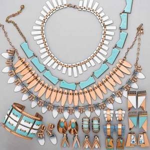 Enameled copper jewelry matisse etc twentyfive geometric pieces in blue turquoise and white tapestry open cuff in turquoise and white 1 34 peter pan white necklace nefertiti turquois