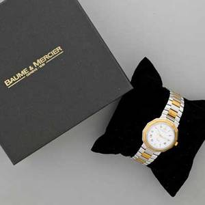 Gentlemens baume and mercier riviera wristwatch 18k and stainless steel octagonal with white dial roman hours center sweep seconds date aperture at 600 36 mm two tone bracelet ca 2004 in