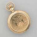 American watch co engraved hunt case pocket watch 14k yellow gold four bodied case with leafy and scenic engraving throughout original monogram obscured by erasure newer monogram hm white face