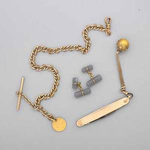Gentlemens gold or gold filled jewelry four pieces double faceted batons joined by gold spring links chalcedony and gold cufflinks pocketknife with attached victorian gf ball and chain handle