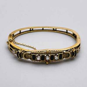 Victorian revival diamond enamel gold bracelet 14k yg round brilliant cut diamonds approx 45 ct tw mid 20th c accommodates 7 131 dwt