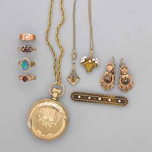 Collection of antique gold jewelry ten pieces pair of victorian low karat gf yg seed pearl and taille depargn enamel earrings drops 1 14 cannetille split pearl low karat yg seed pearl bar