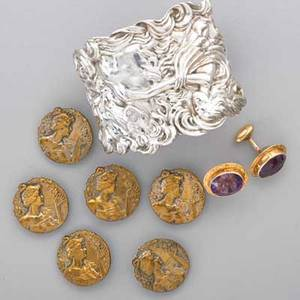 Art nouveau gold sterling and brass jewelry nine pieces pair of 14k gold amethyst cufflinks with incised scroll frame 59 cts total 34 embossed silver cuff depicts nymph on horseback 2 tap