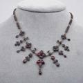 Victorian rose cut garnet fringe necklace gold filled chain and fringe unmarked 16 x 1 34
