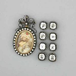 Antique portrait brooch and set of eight buttons portrait miniature spanish silvertopped gold split pearls ca 1900 2 14 x 1 38 eight buttons of paste and cut steel ca 1800 12