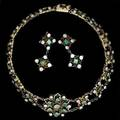 Renaissance revival enameled jeweled demiparure three pieces silver topped necklace with closed backed emeralds and blister pearls contra enameled 14 14 associated later postback earrings d
