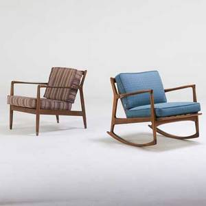 Dux selig dux lounge chair and selig rocking chair sweden and denmark 1960s stained beech brass upholstery manufacturer labels lounge chair 28 x 27 x 30 rocking 30 x 30 12 x 33