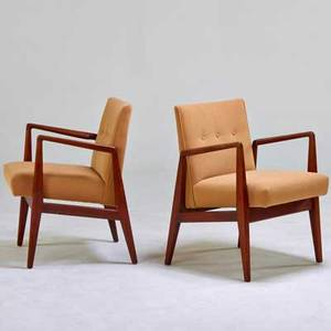 Jens risom jens risom design pair of armchairs usa 1950s walnut upholstery unmarked 31 12x 23 x 23