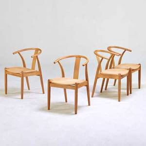 Gunnar falsig set of four wishbonestyle dining chairs new zealand 1990s white oak and paper cord all branded 30 x 20 x 21