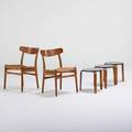 Hans wegner carl hansen  sons two hans wegner side chairs together with three stacking stools in the style of alvar aalto teak oak paper cord laminate birch chairs branded each stool 16 x