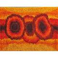 Rya wool area rug in abstract pattern shades of gold red and orange denmark 1960s 80 x 57