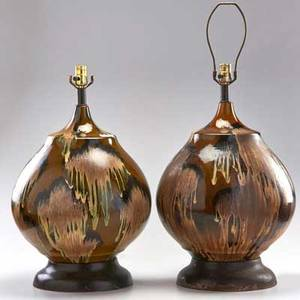 Danish pair of bulbous glazed ceramic table lamps with brass bases 1960s unmarked 25 x 12 dia