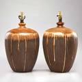 Danish pair of bulbous glazed ceramic table lamps 1960s unmarked 22 x 10 dia