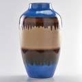 Raymor floor vase in blue copper and cream glazes 1960s glazed earthenware raymor paper label 21 x 10 dia