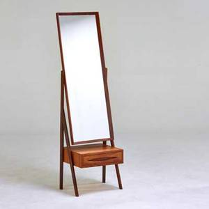 Danish standing mirror with drawer 1960s teak rosewood mirrored glass ink stamped made in denmark 62 x 18 12 x 18 12
