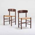 Borge mogensen fdb two shaker side chairs j39 denmark 1940s stained oak paper cord seats unmarked 29 12 x 19 x 17