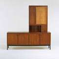 Danish style cabinet and bar 1960s walnut painted metal and wood woven cane unmarked cabinet 30 12 x 78 x 18 bar 33 12 x 48 x 13