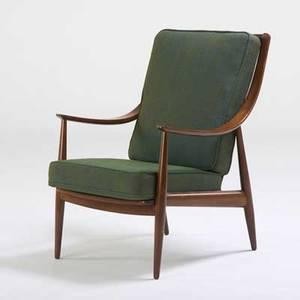 Peter Hvidt John Stuart Upholstered Teak Lounge Chair Denmark 1960s Metal  Retailer Tag 37 X 25