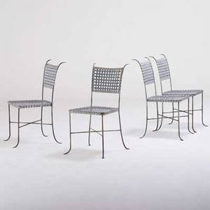 Garden set of four enameled and galvanized steel side chairs usa 1980s unmarked each 36 x 19 x 21