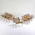 Richard schultz knoll associates group of eight lounge chairs in as found condition usa 1960s painted aluminum leather mesh enameled steel unmarked 26 12 x 26 x 28