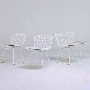 Harry bertoia knoll associates set of four side chairs usa 1970s plastic coated metal vinyl all unmarked 29 12 x 21 x 21