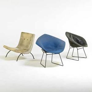 Harry bertoia milo baughman three chairs two knoll diamond one thayer coggin lounge new york nc 1960s enameled steel wool and vinyl unmarked diamond chair 31 x 34 x 28