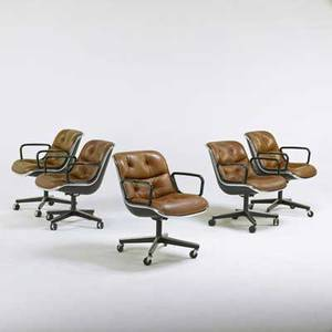 Charles pollock knoll international assembled set of five rolling armchairs new york 1980s chrome and enameled metal steel plastic and leather manufacturers labels 31 x 26 x 28