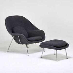 Eero saarinen knoll inc womb chair and ottoman usa 1990s enameled steel wool upholstery label chair 31 x 41 x 37 ottoman 15 x 25 x 21
