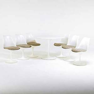 Eero saarinen knoll studios tulip table and six side chairsusaitaly 1990s fiberglass resin enameled steel marble upholstery all unmarked chair 32 x 19 x 20 table 29 x 42 dia