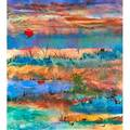 Two waterscapes 20th c sylvia campbell american mixed media on paper of sun setting over lake signed oil on masonite of boats in a marina illegibly signed both framed largest 31 34 x 47