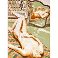 Philip pearlstein american b 1924 three lithographs in colors of nudes nude on navajo rug 1972 nude with iron bench and mirror 1978 model in kimono on plastic chair 2001 each signed