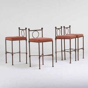 Designer set of four bar stools late 20th c patinated metal and upholstery all unmarked each 44 x 20 sq