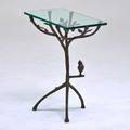 After diego giacometti ralph pucci occasional table licensed reissue new york 1990s patinated bronze glass unmarked 22 12 x 25 12 x 13 12