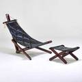 Style of jean gillon lounge chair and ottoman brazil 1960s jacaranda rope leather unmarked chair 42 x 41 x 46
