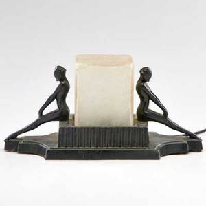Frankart figural desk lamp with two seated women new york 1920s ebonized metal frosted glass unmarked 7 12 x 14 x 6 14