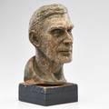 Waylande gregory bust depicting john grabar usa 1958 terracotta wood signed and dated 17 34 x 7 12 sq