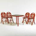 American art deco folding card table and four chairs stenciled and enameled bentwood steel tagged louis rastetter  sons fort wayne in 1926 table 27 x 28 12 sq chairs 32 x 1 12 x 18
