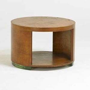 Art deco coffee table usa ca 1920s mahogany glass unmarked 20 x 29 dia