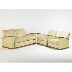 Art deco sofa and matching club chairs usa 1920s oak leather unmarked sofa 39 x 61 x 35 chair 39 x 20 12 x 35