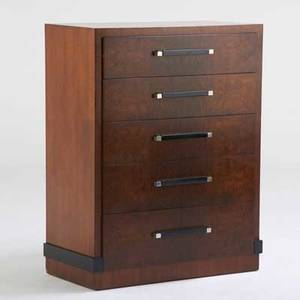 Donald deskey amodec tall dresser usa 1930s burled walnut walnut ebonized wood chromed metal metal tag and stenciled 46 12 x 37 x 19 12