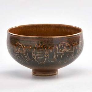 Edwin and mary scheier footed bowl with incised figures and fish green valley az 1960 signed and dated 3 34 x 6 dia