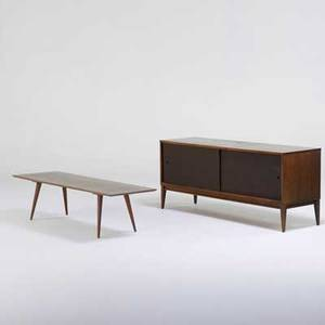 Paul mccobb winchendon planner group sliding door cabinet and coffee table grand rapids mi 1950s birch and brass foil label on cabinet cabinet 25 12 x 60 x 18 14